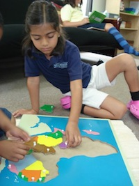 Elementary student working with