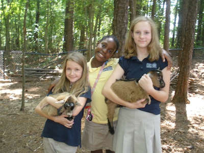 Adolescent Program students care for goats as part of their practical life experiences.