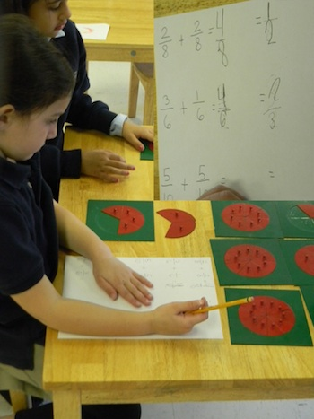 Primary student working with the Fraction Metal Insets.